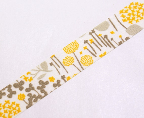 Flowers in the Garden with Field Grass - YELLOW Japanese Washi Paper Masking Tape-16.5 YARDS