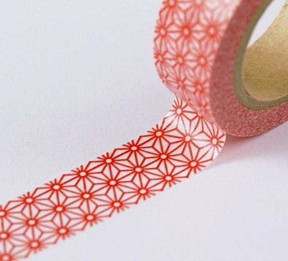 Red Geometric Stars Pattern Washi Paper Masking Tape-11 YARDS