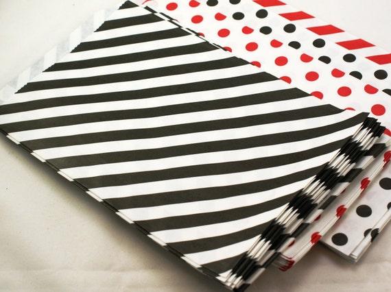 20 large BLACK striped party favor bags - 6 1/4 x 9 3/4 black favor bags - paper party favor bags, wedding favor bags, merchandise bags