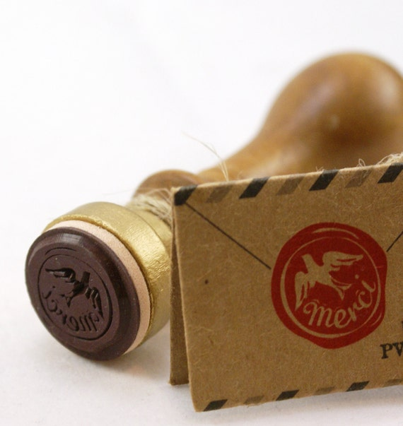 MERCI with Bird - Mock Wax Seal Looking Stick Handle Rubber Stamp from Japan