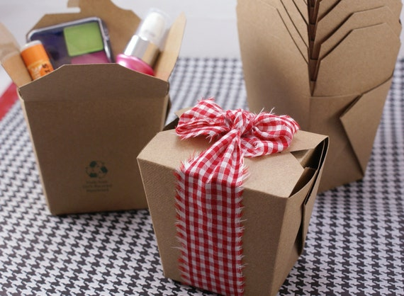 SAMPLE SALE - Set of 20 LiGHT KRAFT BrOWN 100% Recycled 16 oz. Microwaveable Chinese Take Out Boxes - Wedding Favors, Candy, Gift Wrapping