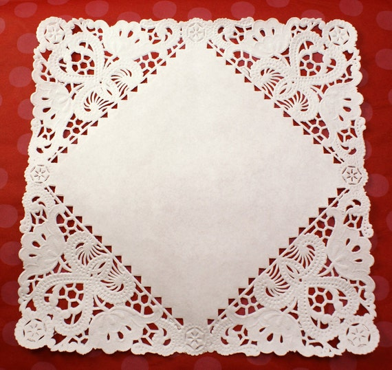 Set of 20 Fancy 8 inch square French Lace paper doilies for decorating, food display, plates, gift baskets