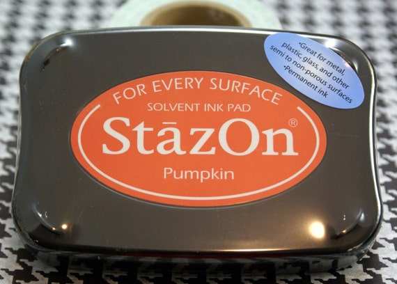 PUMPKIN ORANGE Tsukineko STAZON Solvent-based Ink Pad for non-porous & semi-porous surfaces- metal, leather, acrylic, shrink plastic, glass