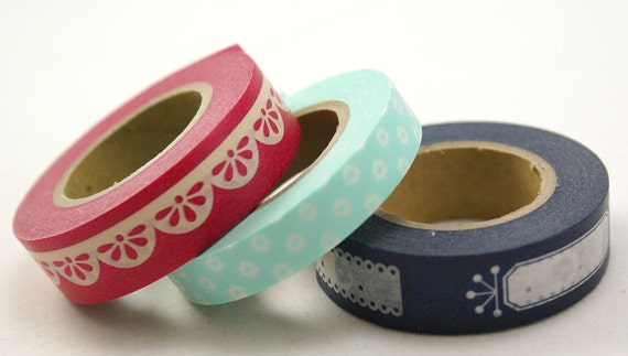 RETRO MOMMA 3- pop flowers, chubby scalloped trim, tags & labels - Set of 3 Japanese Washi Paper Masking Tape-49 Yards
