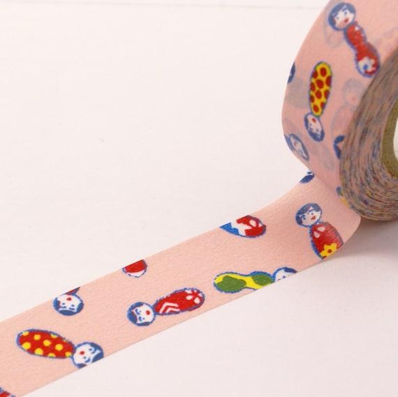 Little Japanese Dolls on Light Pink - Washi Masking Tape-16.5 Yards