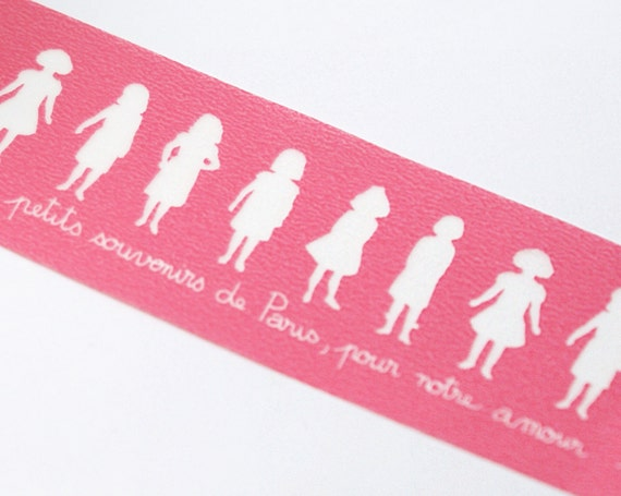SALE - Line of Girls with French Writing on WIDE Pink Washi Masking Tape-16.5 YARDS