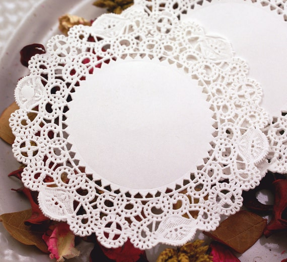 50 SMALL paper doilies - Fancy Swirls & Circles 4 inch round - for decorating, gift wrapping, food display, scrapbooking