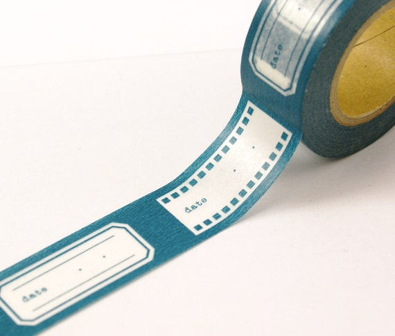 BRIGHT TEAL BLUE Film Strip Reel and Labels with space for DaTE Washi Paper Masking Tape-16.5 Yards