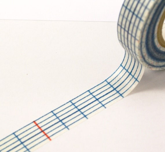 SALE - Long Blue Grid with Red Lines Pattern Washi Paper Masking Tape-16.5 YARDS