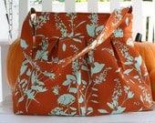 Handmade diaper bag in Joel Dewberry Ginseng Wildflowers in Rust RARE fabric