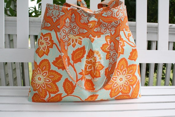 "Joel Dewberry Diaper Bag in Ornate Floral in Amber from Heirloom Handmade fabric purse ""Sophie"" style"