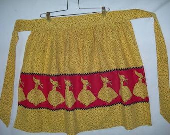 Vintage Sun Bonnet Girl Apron with Calico Print-So Sweet!