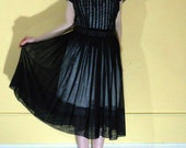 50s sheer lace front party frock
