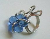 Silver  Ring with Transparent Blue Murano Glass Flower