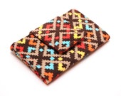 Mini Wallet Business Card Case - Corduroy Geometric Red Blue Orange Yellow and Espresso Brown