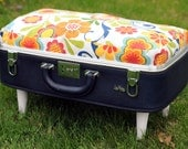 Vintage Suitcase Pet Bed - Navy Blue with Retro Floral Print Custom Cushion - Cats and Small Dogs