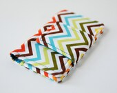Rainbow Chevron Mini Wallet and Business Card Case - Red Blue Teal Green Orange Chevron Stripes