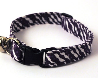 Breakaway Adjustable Safety Cat Collar with Bell - Purple and White Zebra Print