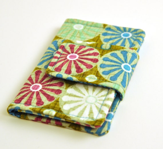 Mini Wallet and Business Card Holder -  Teal, Fuchsia, and Aquamarine Spokes
