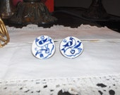 Ceramic Hand Painted Blue Birds Earrings - 1970s