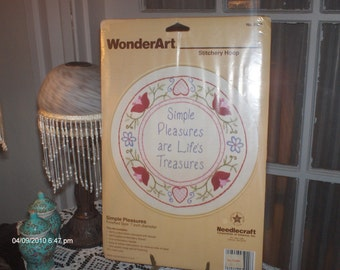 Needlecraft Embroidery  Project  - Simple Pleasures are Lifes Treasures     .