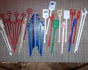 Vintage Swizzle Sticks lot of 35 - 1960s - 1970s