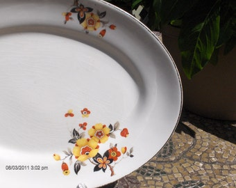 Vintage Ceramic Floral Oval Platter  - Lovely