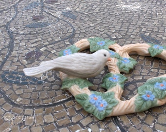 Vintage Porcelain Heart Shape Vine and Bird Wall Hanging -  Sweet