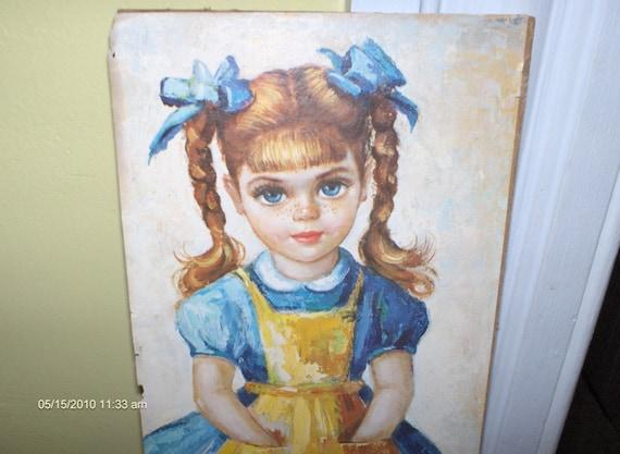 Vintage - Little Blond Girl Lithograph  - M.Medeiros 1960s