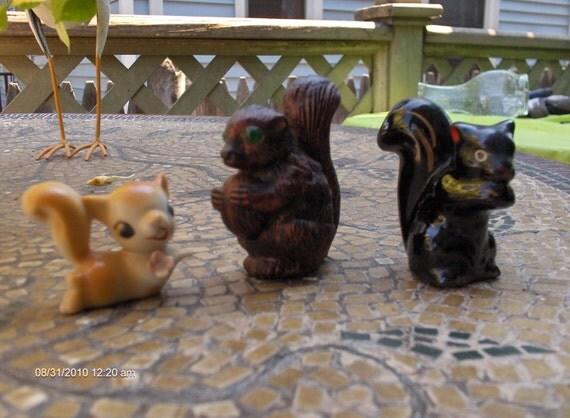 3 Vintage Squirrel Figurines 1950s - 1960s - Unique and Cute