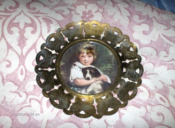 Vintage Brass Butterfly Framed Little Girl and her Dog - Made in England - Lovely