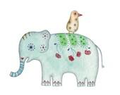 Painted Elephant 3x5 Print