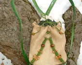 Hemp Leather Backpack Macrame And Wooden Beads