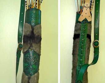 Tooled Archery Quiver Leather & Hide