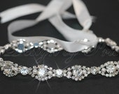 HPH2 - Bridal Rhinestone and Swarovski Pearls Ribbon Headpiece - Bridal.Hairpiece.Accessories