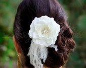 BP14 - I - Bridal Pale Ivory  Hair Flower with Rhinestones Center and Feathers  Accents - Bridal Hairpiece