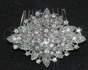 HP3 - Bridal Elegant Vintage Crystal Hair Comb or Brooch - Bridal.Bridesmaids.Hairpiece.Brooch.Dress Sash