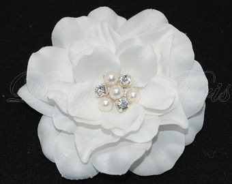 BP8 - Bridal Natural White Hair Flower with Swarovski Pearls and Crystals Cente - Bridal Hairpiece