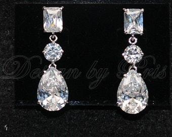 SALE 10% - JE24 - NEW -  Cubic Zirconia Earrings - Bridal.Accessories.Jewelry