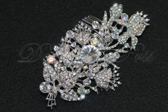 HPC7 - Rhinestone Floral Hair Comb - Bridal.Bridesmaids.Hairpiece - SALE