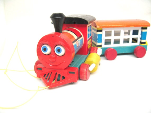 Vintage Fisher Price Huffy Puffy Wood Train - 4 Piece Set