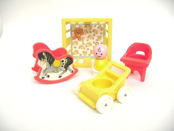 Vintage Fisher Price Nursery Pieces with Baby (2)