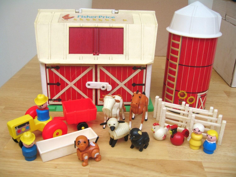 Vintage Fisher Price Farm Set With Silo