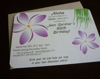 Jean's Plumeria Luau Invitation - Set of 10