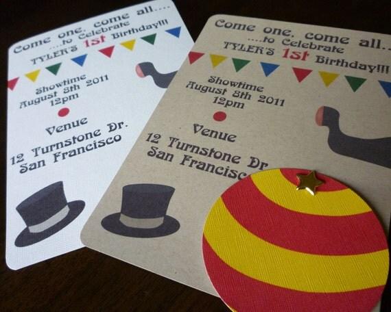 Circus Birthday Invitation - Set of 10