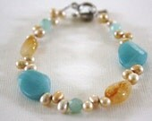 Gemstone Amazonite, yellow jade, fresh water pearl bracelet 8 inches long with silver toggle clasp