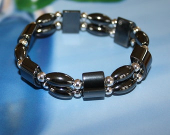 Magnetic hematite bracelet with sterling silver 8 inches long