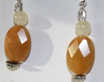 Yellow Jade and Honey Jade earrings on sterling silver ear wires