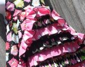Owl themed peek-a-boo ruffle party dress 12/18 mo - 3T
