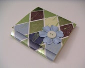 Blue Green and Brown Argyle Sticky Notes Pad with Blue Paper Flower and Green Button